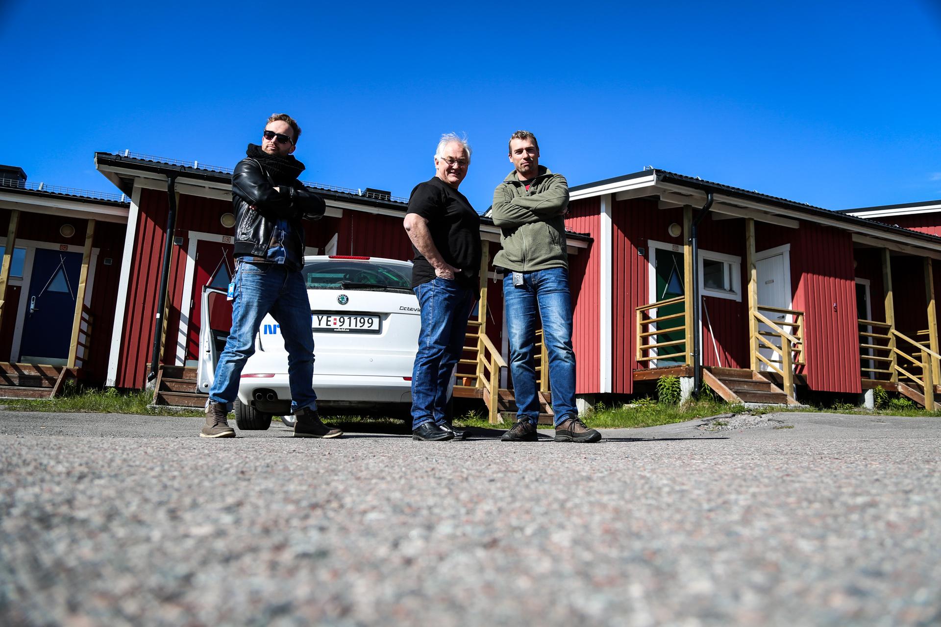 Photographer (Me), reporter (Kjell Mikalsen), and FlyAway-operator (Lars-Bjørn Martinsen) at Ripan Camping, Kiruna, Sweden.