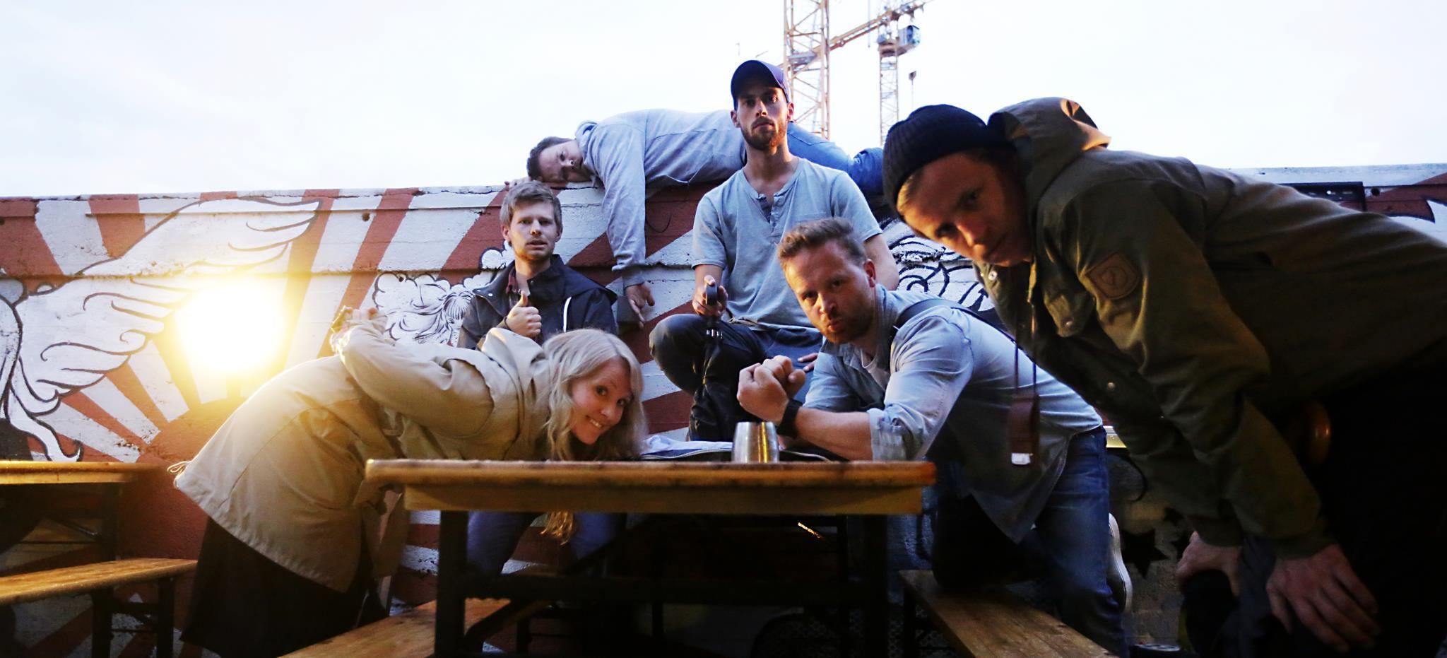 Shuffleboardin' Oslo: Catrine Bøhler, Aleksander Andersen, Johan Breines, Lars Øverli, Me, Martin SLottemo Lyngstad